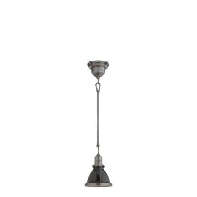 Fulton Mini Pendant in Industrial Steel with Black Shade