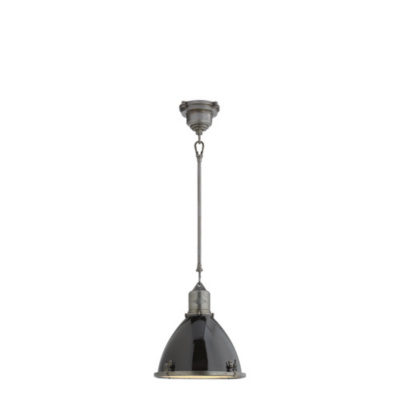 Fulton Small Pendant in Industrial Steel with Black Enamel Shade