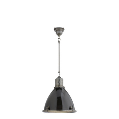 Fulton Medium Pendant in Industrial Steel with Black Enamel Shade