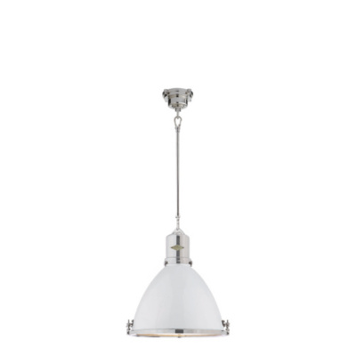 Fulton Medium Pendant in Polished Nickel with White Enamel Shade