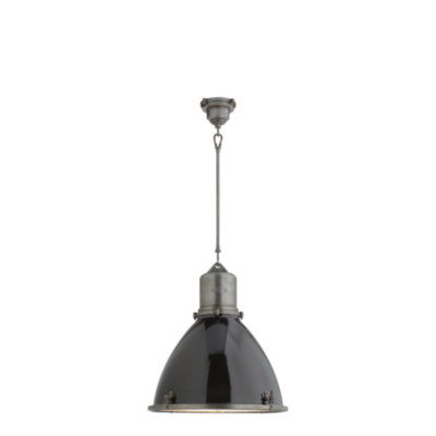 Fulton Large Pendant in Industrial Steel with Black Enamel Shade