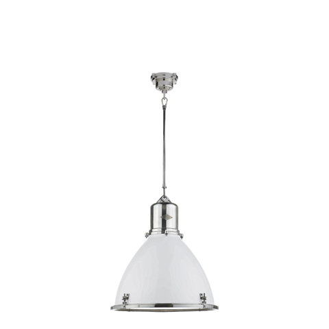 Fulton Large Pendant In Polished Nickel With White Enamel Shade Ceiling Fix