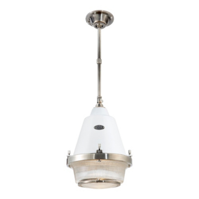 Grant Medium Pendant - Antique Nickel & White