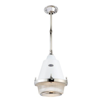 Grant Medium Pendant - Polished Nickel & White
