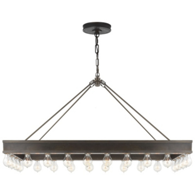Roark Rectangular Pendant in Aged Iron