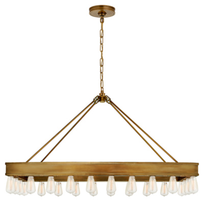 Roark Medium Rectangular Pendant in Natural Brass
