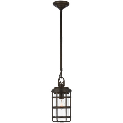 Crosby Small Pendant in Aged Iron with Clear Glass