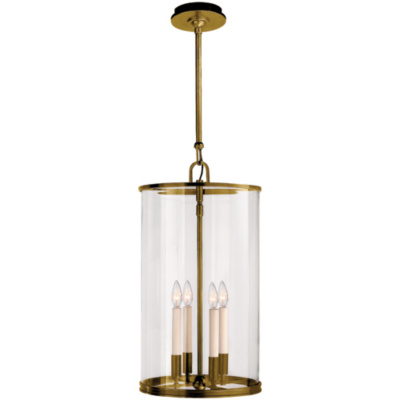 Modern Large Lantern in Natural Brass
