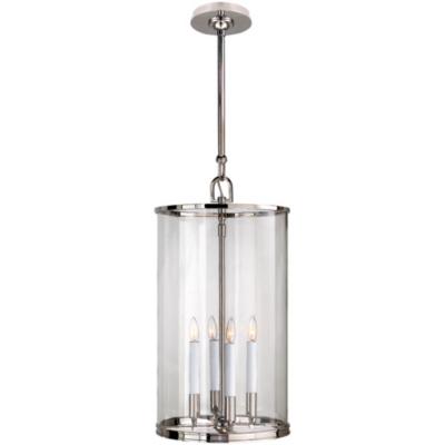 Modern Large Lantern in Polished Nickel