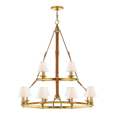 Westbury Double Tier Chandelier in Natural Brass