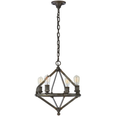 Archer Small Chandelier in Industrial Steel