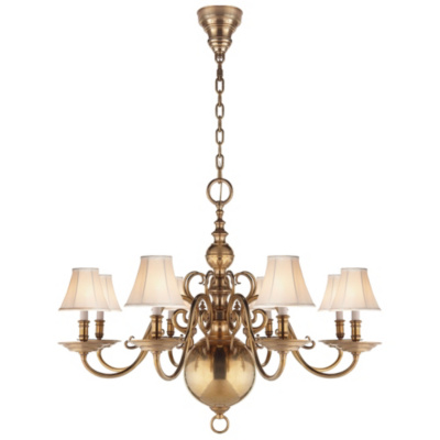 Lillianne Eight-Light Chandelier in Natural Brass
