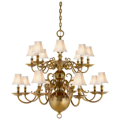 Lillianne Sixteen-Light Chandelier in Natural Brass