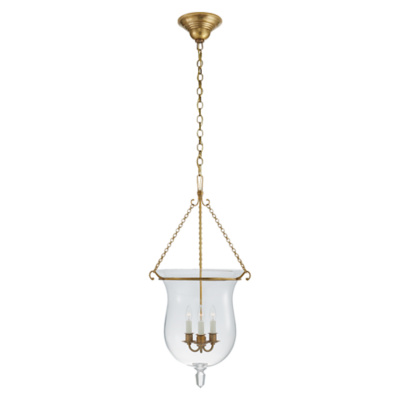 Julianne Small Smoke Bell Pendant in Natural Brass with Clear Glass