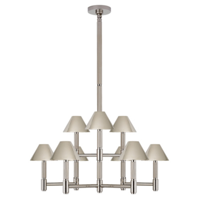 Barrett Medium Knurled Chandelier in Polished Nickel
