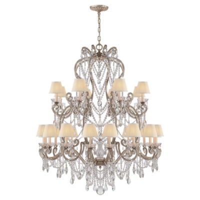 Adrianna Large Chandelier in Antique Silver Leaf with Crystals