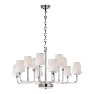 Parker Large Chandelier in Polished Nickel and Crystal