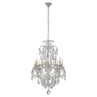 Alessandra Small Chandelier in Antique Silver Leaf
