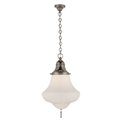 Xavier Large Pendant in Butler's Silver with White Glass