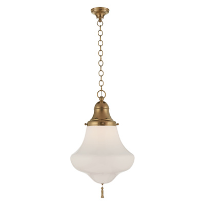 Xavier Large Pendant in Natural Brass with White Glass