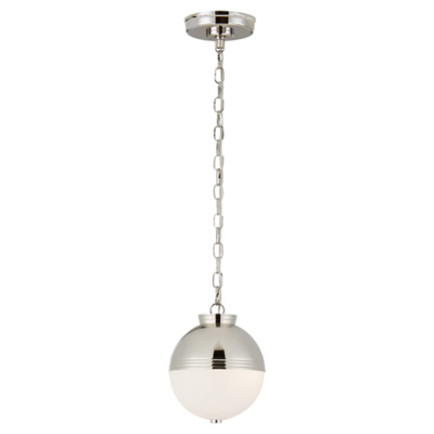 Montgomery Small Globe Pendant in Polished Nickel with White Glass