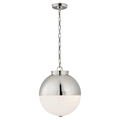 Montgomery Large Globe Pendant in Polished Nickel with White Glass