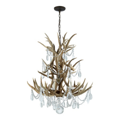 Straton Single Tier Chandelier - Natural w/ Crystal