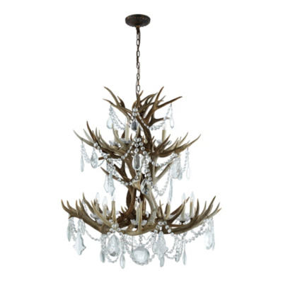 Straton Double Tier Chandelier - Natural w/ Crystal