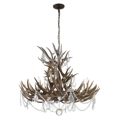 Straton Wide Chandelier in Bone with Crystal