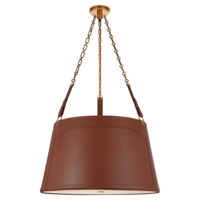 Karlie Large Hanging Shade in Natural Brass with Saddle Leather and Acrylic