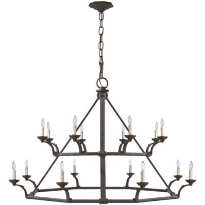 Robertson Double Tier Chandelier in Natural Rust