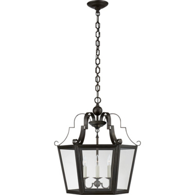 Francoise Medium Lantern in Aged Iron with Clear Glass