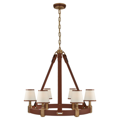 Riley Medium Ring Chandelier in Natural Brass and Saddle Leather