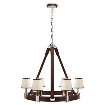 Riley Medium Ring Chandelier in Nickel and Chocolate Leather