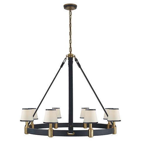 Riley Large Ring Chandelier in Natural Brass and Navy Leather - Ceiling Fixtures - Lighting - Products - Ralph Lauren Home - RalphLaurenHome.com  sc 1 st  Ralph Lauren Home & Riley Large Ring Chandelier in Natural Brass and Navy Leather ... azcodes.com