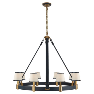 Riley Large Ring Chandelier in Natural Brass and Navy Leather with Leather