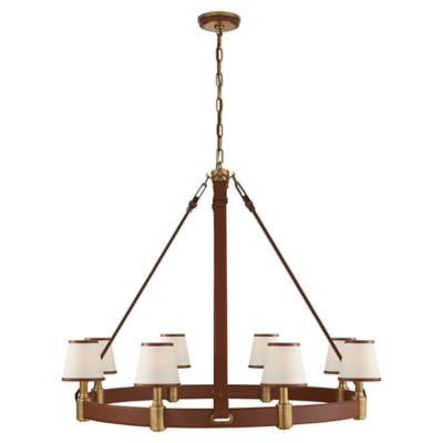 Riley Large Ring Chandelier in Natural Brass and Saddle Leather with Leathe
