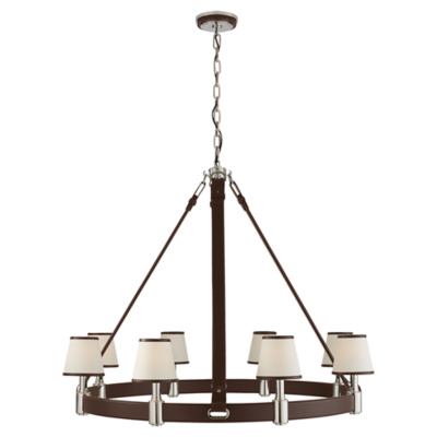 Riley Large Ring Chandelier in Polished Nickel and Chocolate Leather w/ Lea