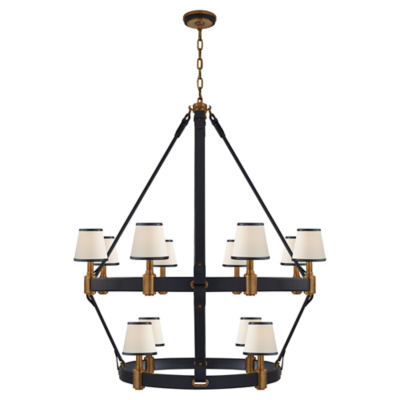 Riley Large Two Tier Chandelier in Natural Brass and Navy Leather