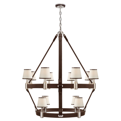 Riley Large Two Tier Chandelier in Polished Nickel and Chocolate Leather