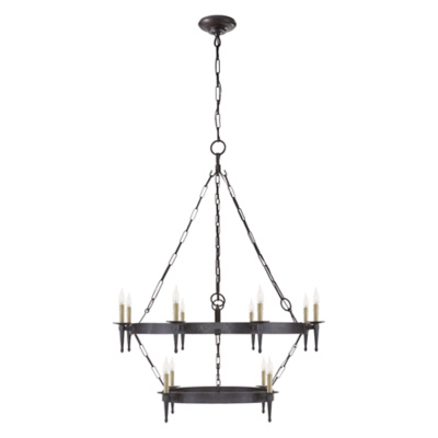 Branson Medium Two-Tiered Chandelier in Aged Iron
