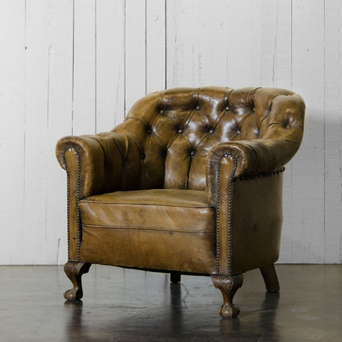 Tufted Leather Club Chair Chairs Ottomans Furniture