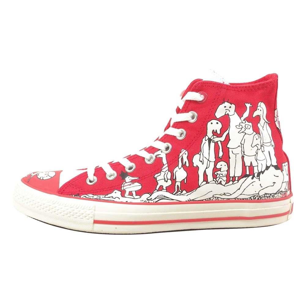 Converse (PRODUCT) Red Chuck Taylor All Star 100 Peepz Hi Retro Shoes - Unisex - ShoeBacca.com
