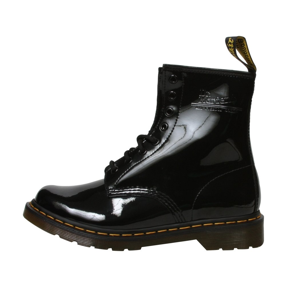 Dr. Martens Women's 1460W Patent - 8 Eyelet Lace-Up Combat Boots