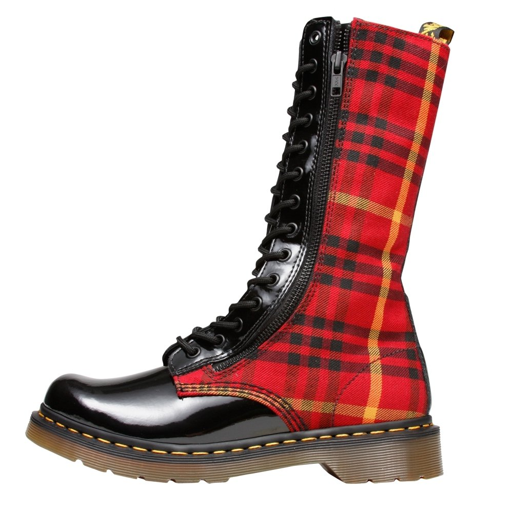 Dr. Martens Women's Lorna Plaid Leather - 14 Eyelet Lace-Up Combat Boots