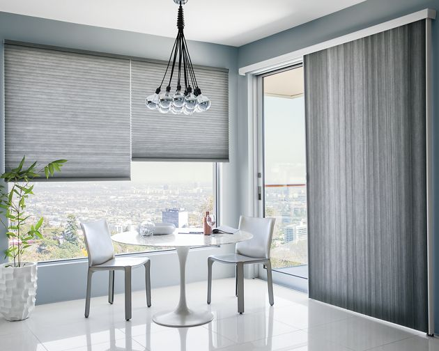 Classic grand cell light filtering vertical honeycomb shade for Noble windows