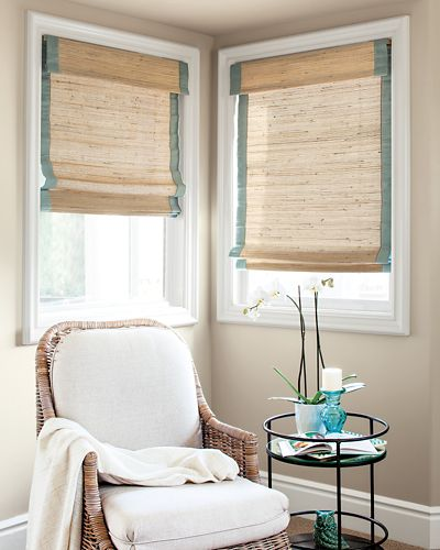 natural woven flat fold cordless shade
