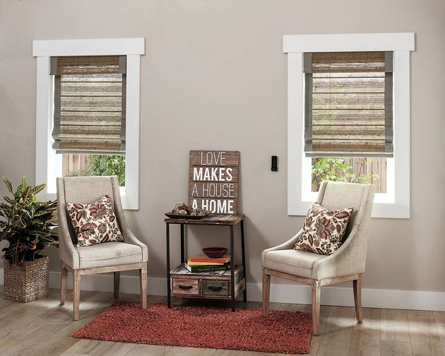 natural woven flat fold motorized shade