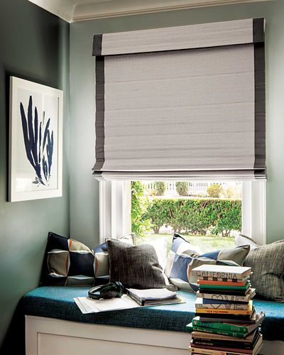 Natural woven flat fold cordless shade for Smith and noble natural woven shades