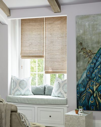 Wendy bellissimo natural woven waterfall shades for Smith and noble bamboo shades